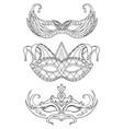 set of hand-drawn doodle face masks festival vector image