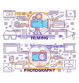 set of modern thin line photography and vector image