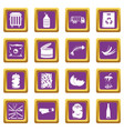 waste and garbage icons set purple vector image vector image