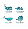 Whales logo set sketch for your design