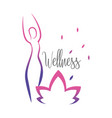 woman wellness silhouette with natural leaves vector image
