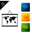world map on a school blackboard icon isolated on vector image vector image