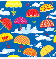 seamless pattern with colorful umbrellas and cloud vector image
