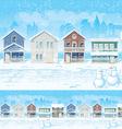 Suburban Street In Winter vector image