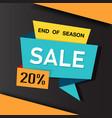 banner end of season sale 20 ribbon image vector image