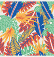 abstract color tropical leaves seamless pattern vector image vector image