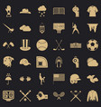 baseball field icons set simple style vector image vector image