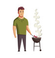 bbq party man with a barbecue grill picnic with vector image vector image