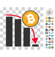 bitcoin fall down chart icon with bonus vector image vector image