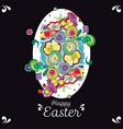 black easter greeting card with floral decoration vector image vector image