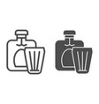 bottle of cognac and glass line and glyph icon vector image