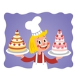 cake chef little girl vector image vector image
