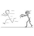 cartoon scared man running away from mummy vector image vector image