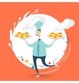 Chef carries a tray of muffins vector image