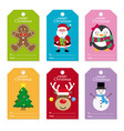 christmas tags set vector image vector image