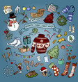 christmas winter favourites colorful doodles vector image