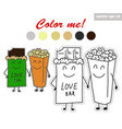 coloring book stickers of chocolate and pop corn vector image