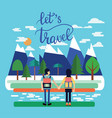 couple of traveler with backpacks standing and vector image vector image