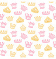 crown seamless pattern golden and pink crowns vector image