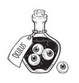 eyeballs in glass bottle isolated sticker patch vector image vector image