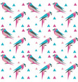 geometric seamless pattern with origami birds vector image