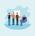 group of men using technology and drinking coffee vector image