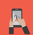 hands hold smartphone with unlock screen vector image vector image