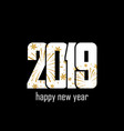 happy new year card white number 2019 with gold vector image vector image