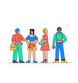 happy students standing together - colorful flat vector image