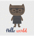 hello world cute little cat greeting card or vector image vector image