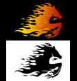 horse in flame two mascot signs vector image