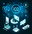 ico start up and meeting of workers set vector image vector image