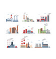 industrial complex factory buildings color icons vector image vector image