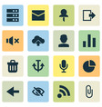 interface icons set with trash can pin mute and vector image vector image