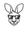 kangaroo head in sunglasses icon logo on white vector image vector image