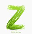 letter z of juicy grass alphabet green z vector image