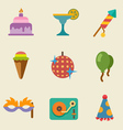 Party color icon set vector image