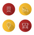 public transport flat linear long shadow icons set vector image