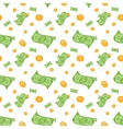 Seamless pattern of money bills and coins