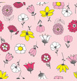 seamless pattern with chaotically arranged flowers vector image vector image