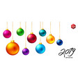 set of nine realistic colored christmas balls vector image