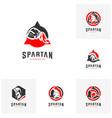 set of spartan logo design spartan helmet logo vector image vector image