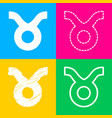 taurus sign four styles of icon on vector image