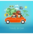 Travel by Car Happy Couple Traveling vector image vector image