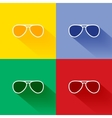 Trendy long shadow flat sunglasses icon set vector image