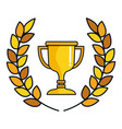 trophy cup with wreath award icon vector image vector image