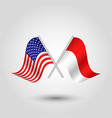 two crossed american and indonesian flags vector image vector image