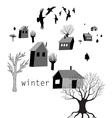 village and crows in winter vector image