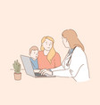 visiting pediatrician concept vector image vector image