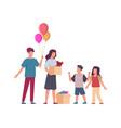 volunteers help kids helpful man and woman vector image vector image